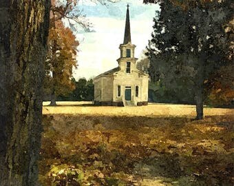 Fine Art Print of St. Frances Methodist Church in Eastern North Carolina in Watercolor Rendering
