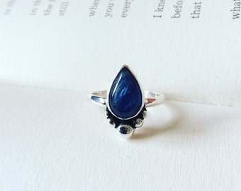 Kyanite Boulder Teardrop Sterling Silver Ring