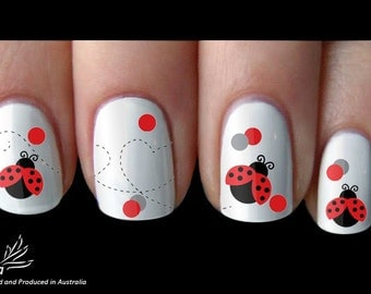 Ladybug Nail Art Sticker Water Transfer Decal 44