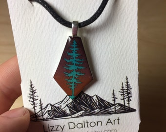 Pine Tree Art Pendant Necklace - Teal and Brown Pine Tree with Black Waxed Cotton Adjustable Cord