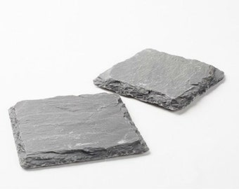 """Natural Coasters Made of Slate, Stone Coaster 12 Set 4"""" inch squares, Rustic style  Unique drink coaster, Great Gift, Beverage Coaster"""