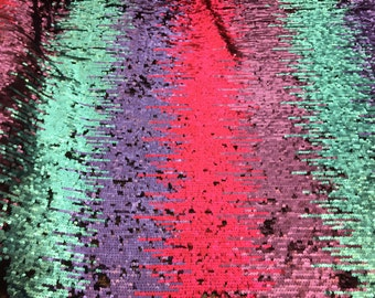 """Rainbow Ombre Flip Up Sequin on Spandex, 54"""" inch, sold by the yard"""