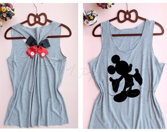 Mickey Mouse Disney Princess tank top : Disney tank top / Disney Bow tank / Tank top / Disney Shirt / Princess tank top / Mickey Mouse shirt