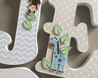 Decorated letters, Baby boy jungle nursery letters, wall hanging letters, free standing letters, blue, grey wooden letters, baby shower,