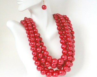 Chunky Red Pearl Necklace, Multi Strand Statement Necklace, Bib Pearl Necklace, Red Jewelry, Gift Idea For Her, Holiday Gifts