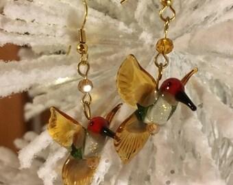 Lampwork Glass Hummingbird Earrings - Gold, Green, Red Hummingbirds - Anna's Hummingbirds - Blown Glass Hummingbirds