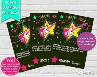 Thank You Card | Rockstar, Rock Star,Thank You, Thank You Cards, Thank You Notes, Party Thank You Card, Birthday Thank You Note