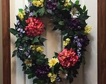 Summer Wreath, Spring Wreath, Spring Decor, Summer Decor, Front Door Decor, Floral Wreath, Floral Decor