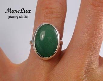 Natural Green Aventurine Cabochon Ring, Aventurine Silver, Gold or Gold Plated Ring, Green Aventurine Ring, Aventurine Ring Green Stone Ring