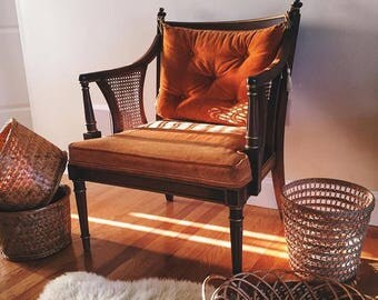 Orange Upholstered French Provincial Cane Arm Chair with cane sides, Cane Chair by Statesville Chair Co