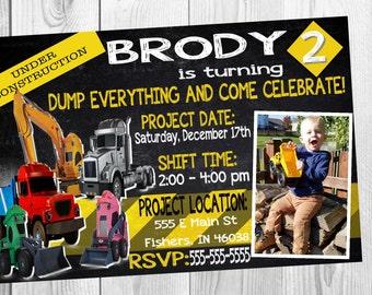 Terrific Trucks Construction Birthday Invitation