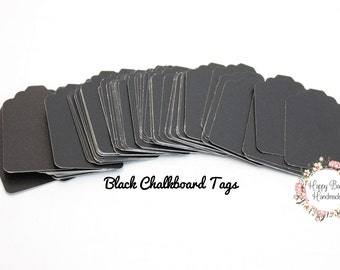 Chalkboard Tags, Black Tags, Black Chalkboard Tags, 25 or 50, Gift Tags, 2-1/4 by 1-1/2 Inches, Product Tags, Holiday Tags, Black Chalk Tags