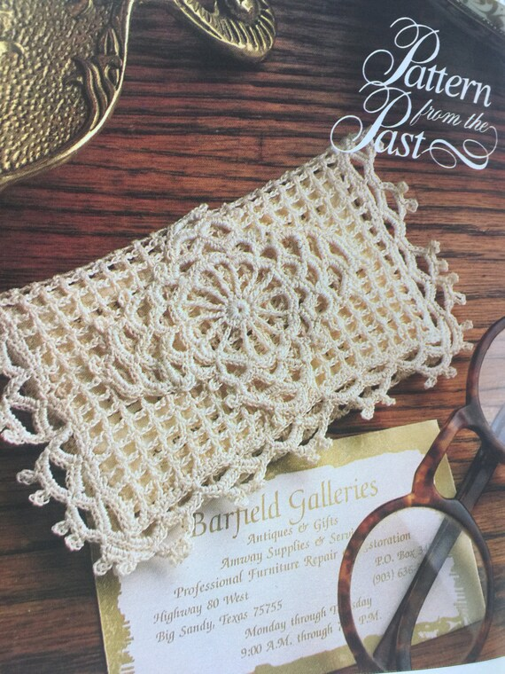 Pdf download vintage crochet business card cover pattern, filet / crochet pattern