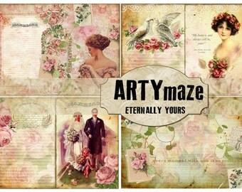 ETERNALLY YOURS Vintage Wedding digital Journal  *instant download*