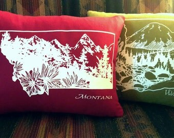 Custom State Pillow, Montana + Washington