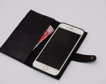 iPhone 6s 6 wallet genuine cow black leather case