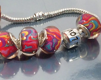 Silver murano style bead  fit EuroPean Charm Bracelet, lampwork style,pandora inspired