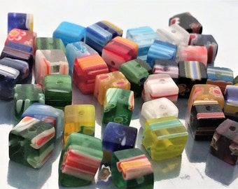 10 Mixed color millefiorie Glass square Spacer Beads 8x8mm, patterned glass bead