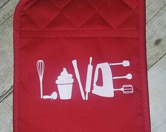 Baking love kitchen pot holder
