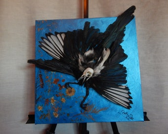 Taxidermy on canvas Magpie 2