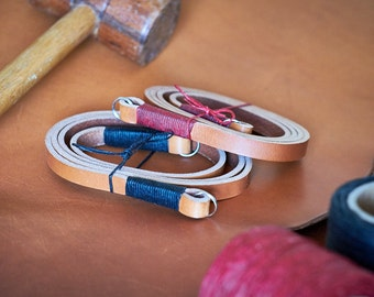 Tan Leather Camera Neck or Shoulder Strap - Black or Red Thread