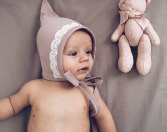 Cap-gnome organic baby cotton bonnet //  Gnome hat // Unisex accessories