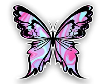 Light Blue-Pink Butterfly sticker / decal**Free Shipping**
