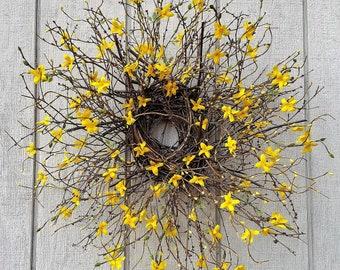 Forsythia Wreath - Primitive Twig Wreath - Yellow Forsythia - Spring Wreath - Woodland Twig Wreath