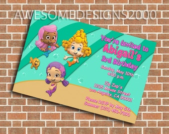 Bubble Guppies Invitations - Birthday Party - Printable & Shipped