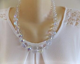 Vintage aurora borealis Crystal style necklace, silver