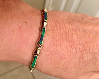 Beautiful 14k Gold Inlaid Black Opal Bracelet