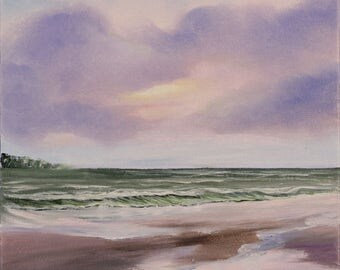 Sunrise Beach Painting, Ocean Sunrise Art, Coastal Landscape, Surf Art, Ocean Art, Seascape, Original Oil Painting on Canvas