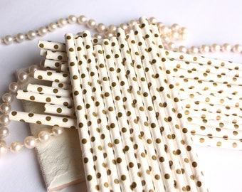 Shimmer Gold and White Polka Dot Straws, Gold and White Polka Dot Drinking Straws - Set of 25