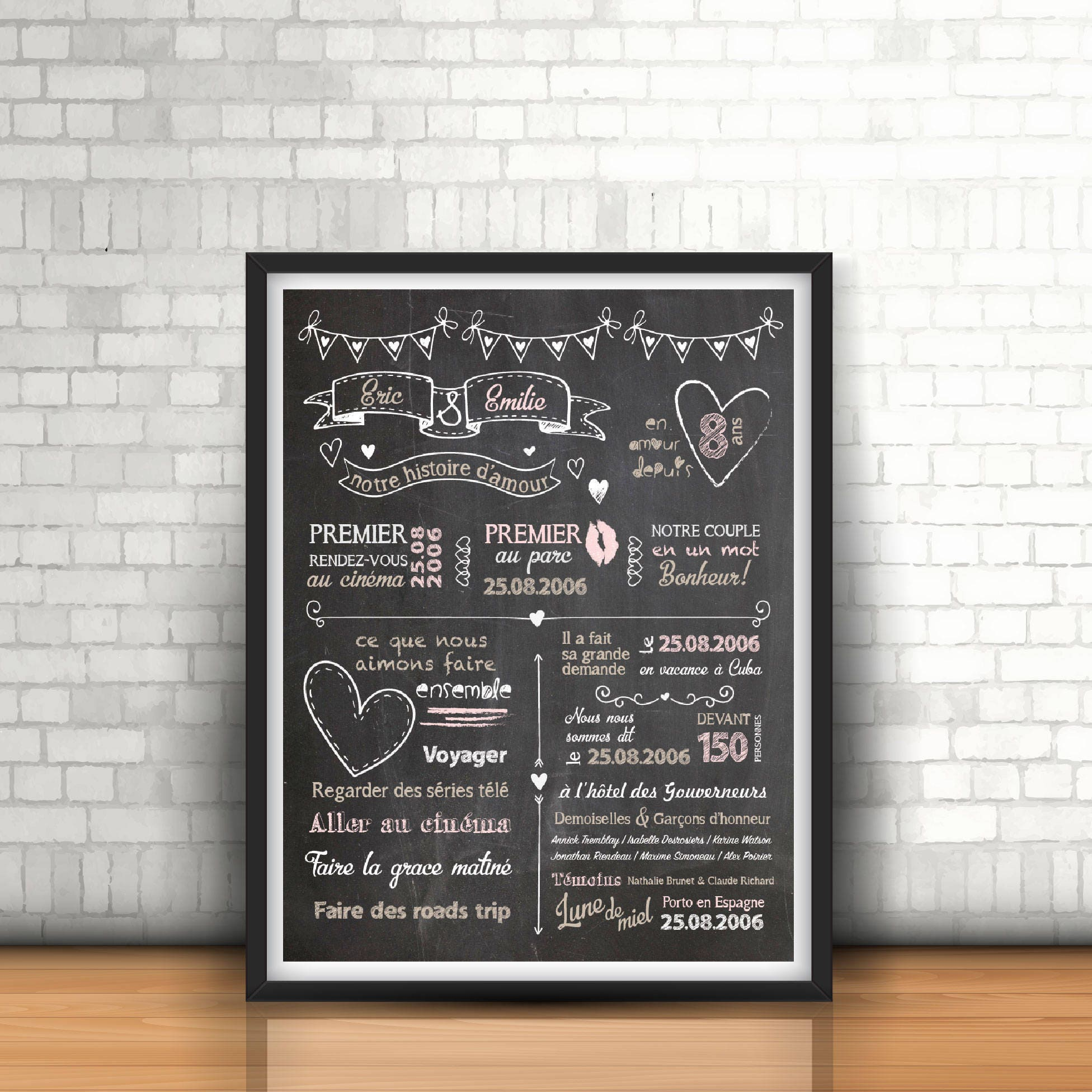 affiche anniversaire de mariage cadeau mariage 20 ans de. Black Bedroom Furniture Sets. Home Design Ideas