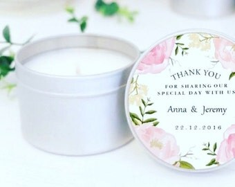 12 Count-Bridal, Baby, Birthday Favor Candle Tins