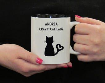 Crazy Cat Lady Mug, Personalised Cat Mug, Cat Lovers Gift