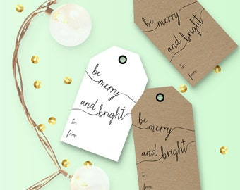 Holiday DIY Gift Tags - Be Merry and Bright - Instant Printable Download