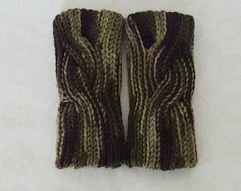 Crochet Wool Cabled Wrist Warmers - Camo