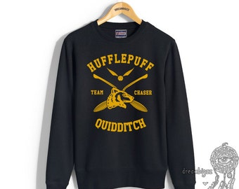 CHASER - Huffle Quidditch team Chaser YELLOW print on Black Crew neck Sweatshirt