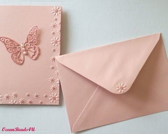 6 Pink Envelopes and 6 Pink Butterfly Cards