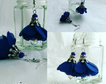 Blue cluster earrings with crown charm. Something blue