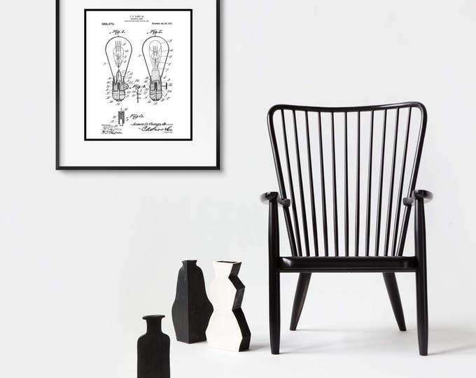 Vintage Electrical Patent Print, Matted and Framed, Choose a Black or White Frame, or Just Matted, Backed, and Ready for Your Frame