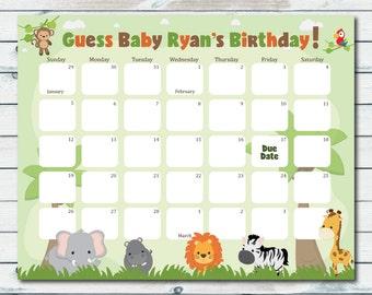 Safari Baby Shower Birthday Predictions Calendar, Printable Baby Shower Guess The Baby Birthday, Safari Baby Shower Game, Due Date Calendar