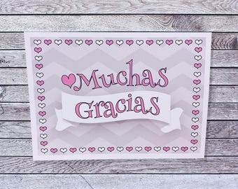 Muchas Gracias Thank You Cards / Single or Pack Thank You Cards (022)