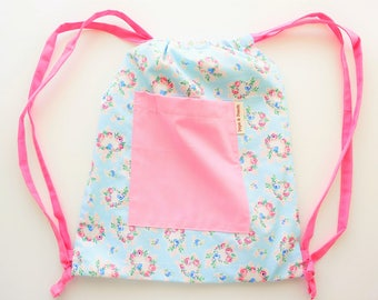 Drawstring backpack, Drawstring bag, Blue, Floral, Roses, with front pocket, Great gift for Girls