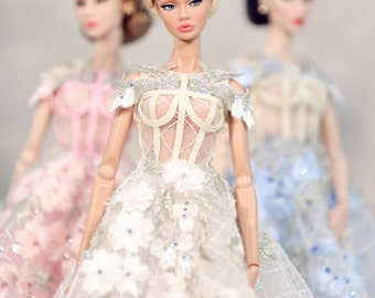 Cherry Blossom dress for fashion royalty , poppy parker, Barbie silkstone , Fashion Dolls 12 ""