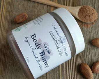 Organic Cocoa Body Butter, Natural Chocolate Body Balm, Raw Cacao Body Moisturizer, Organic Body Butter, Moisturizer, Natural Body Cream