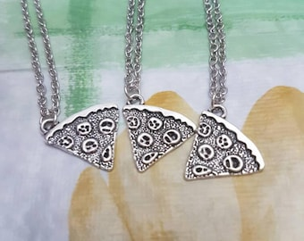 Pizza slice best friends necklace food jewelry three best friend forever necklace