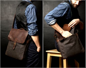 Mens Shoulder Bag, Mens Handbag, Handbag with Shoulder Strap, Canvas Shoulder Bag, Waxed Canvas Handbag