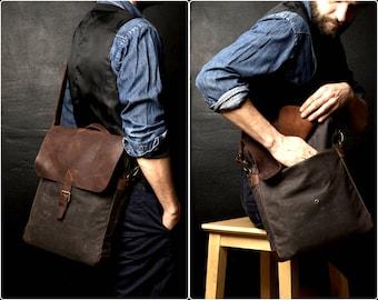 Mens Shoulder Bag, Mens Handbag, Handbag with Shoulder Strap, Canvas Shoulder Bag, Waxed Canvas Handbag